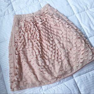 LIKE NEW J. Crew laser cut circle pink midi skirt